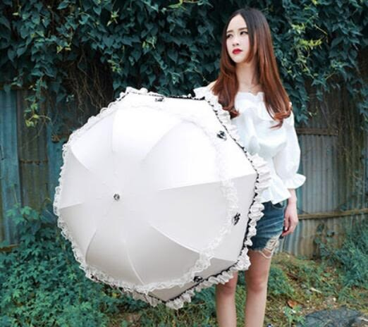 韓國蕾絲花邊蘑菇公主傘防紫外線折疊洋傘防曬太陽兩用黑膠晴雨傘