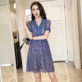 韓系洋裝夏季顯瘦時尚蕾絲連身裙 9601GT3364-B紅粉佳人