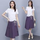 兩件式洋裝棉麻連身裙女套裝裙M-3XL休...