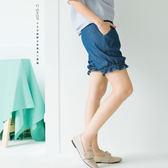 短褲    褲管荷葉滾邊牛仔燈籠短褲   二色原單-小C館日系