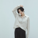 Queen Shop【01024201】微透條紋單口袋棉麻襯衫*現+預*