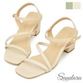 涼鞋 簡約斜帶設計方頭中跟鞋-米