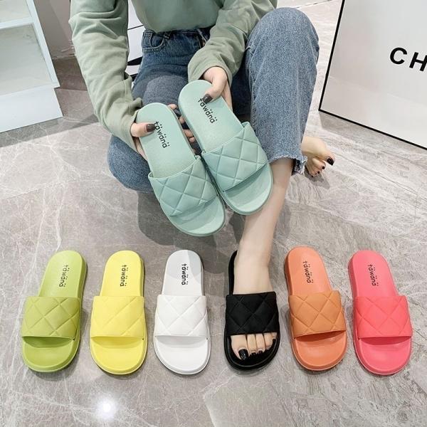 【馬卡龍拖鞋】36-43號全尺碼 菱格紋平底拖鞋 白鳥麗子(七色任選 / 最後促銷)