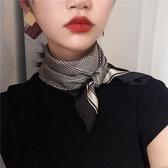 (免運)復古千鳥格小方巾女薄絲巾春圍脖韓國裝飾百搭空姐領巾