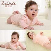 新生嬰兒連體衣服夏薄款長袖男女寶寶純棉包屁衣開檔三角哈衣爬服伊芙莎