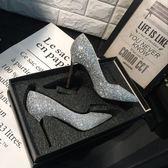 水晶新娘婚鞋女2018新款春季伴娘婚紗鞋細跟