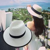 紳士帽 夏天英倫禮帽女正韓百搭太陽沙灘遮陽白色爵士草帽子潮