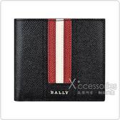 BALLY Trasai金屬LOGO紅白紅條紋設計牛皮8卡對折短夾(黑)