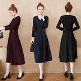 洋裝 連身裙 2020新款女裝秋季正韓收腰顯瘦過膝長裙大碼胖女士氣質v領洋裝