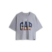 Gap女裝Gap x Snoopy 史努比系列棉質舒適寬鬆短袖T恤567678-淺麻灰色