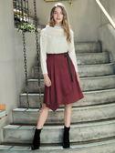 秋冬7折[H2O]不對稱一片圍裹式條絨素材膝下裙 - 紅/深藍色 #8632023