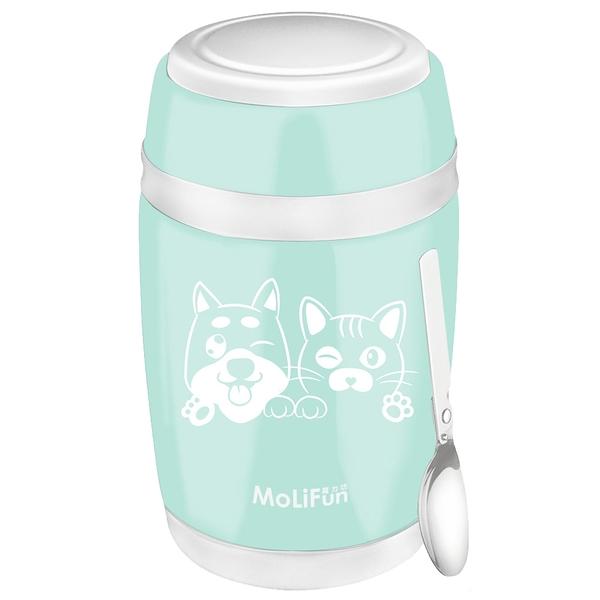 MoliFun魔力坊 不鏽鋼真空保鮮保溫燜燒食物罐550ml-清新綠(毛小孩版)(MF0230GU)