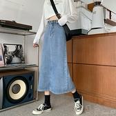 牛仔裙秋季韓版新款chic高腰顯瘦中長款包臀牛仔半身裙學生裙子女裝 町目家