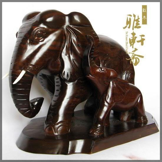 [超豐國際]V雅軒齋】紅木工藝品 母子象 吉祥如意 風水木雕1入