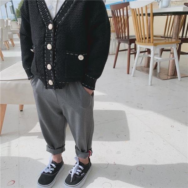 瞇瞇眼童裝兒童西裝褲2021春秋新款男童帥氣翻邊長褲小童洋氣褲子 幸福第一站