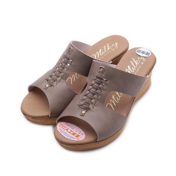 milky milky 編織木跟楔型拖鞋 橡木 1312 女鞋