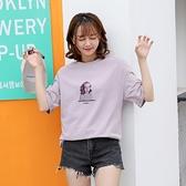 短袖T恤-小女孩印花寬鬆圓領女上衣2色73xn8[巴黎精品]