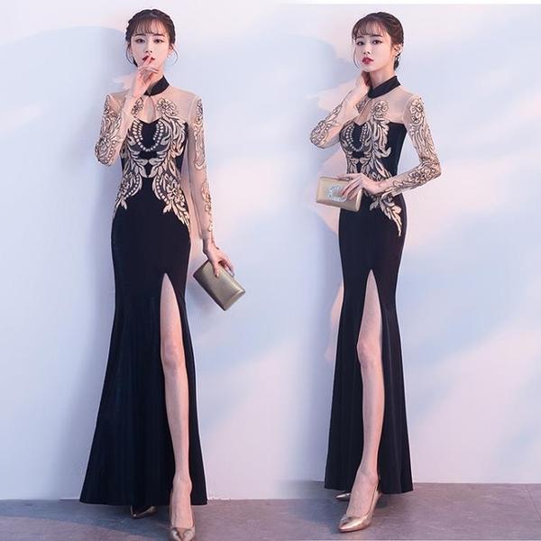 禮服晚禮服新款氣質名媛黑色顯瘦宴會長裙法式婚禮小個子連衣裙女 優拓