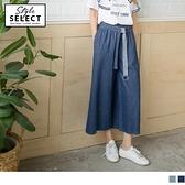 《KG0059-》高含棉牛仔質感腰圍鬆緊綁帶打褶造型寬褲.2色 OB嚴選