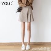 A字裙百褶裙短裙女秋冬新款學生高腰A字裙黑色不規則毛呢半身裙 coco衣巷