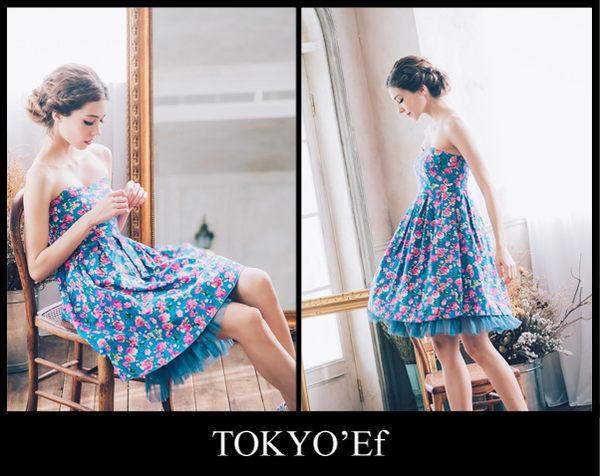 東京衣服 許瑋甯 普羅旺斯玫瑰  心型領 洋裝小禮服 藍花
