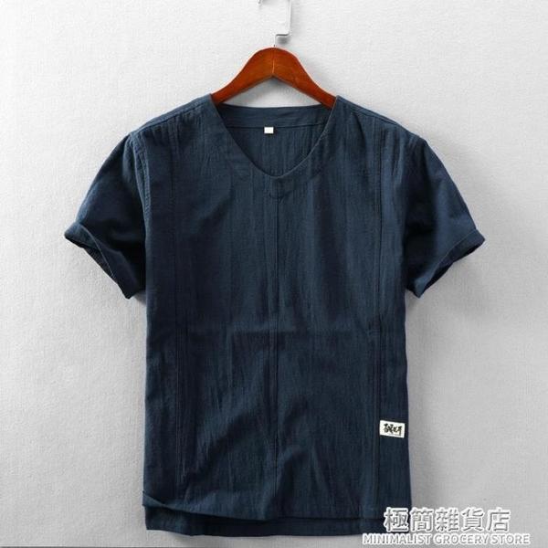 夏季休閑亞麻短袖襯衫男士無領套頭棉麻襯衣透氣薄款麻布半袖上衣 極簡雜貨
