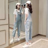 破洞牛仔褲女夏2018新款韓版女裝寬鬆高腰顯瘦九分背帶闊腿褲子潮  無糖工作室