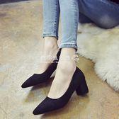 粗跟高跟鞋  百搭工作鞋黑色高跟鞋女職業粗跟絨面單鞋尖頭中跟5cm高跟鞋女鞋  『歐韓流行館』