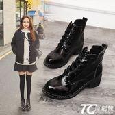 網紅短靴春秋女鞋2018新款百搭韓版學生粗跟馬丁靴英倫風中跟靴子