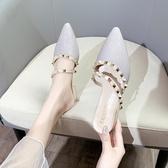 穆勒鞋 涼拖鞋女外穿夏時尚百搭鉚釘包頭網紅半拖粗跟尖頭穆勒鞋【快速出貨】
