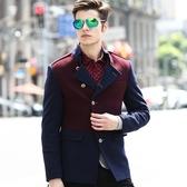 毛呢外套-英倫風修身型韓版羊毛短款男大衣2色72e22【巴黎精品】