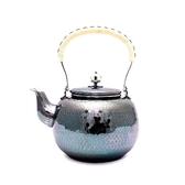 日本銀壺【銀川堂】燻銀銅壺 銀色鎚目湯沸1.2L 黃銅鍍銀茶壺 黃銅洋銀壺 銅壺 銅器