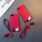 紅色鬥牛犬iphone6s plus手機殼蘋果8矽膠7掛繩新年狗X卡通6韓女  玩趣3C