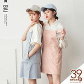 吊帶裙 破損大口袋金屬銀釦斜紋連身裙-BAi白媽媽【160199】
