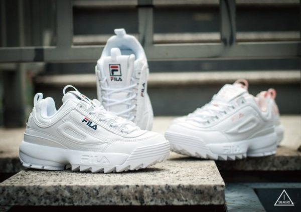 FILA DISRUPTOR 2 復古 白粉 白深藍 經典LOGO 鋸齒鞋 韓國 限定 款新上市