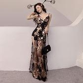 性感洋裝 亮片刺繡網紗重工V領 雙開叉高腰吊帶連身裙度假禮服閃  店慶降價