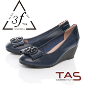 TAS彈力乳膠蝴蝶結飾釦楔型娃娃鞋-深海藍