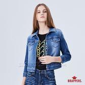 BRAPPERS 女款 針織短版牛仔外套-藍