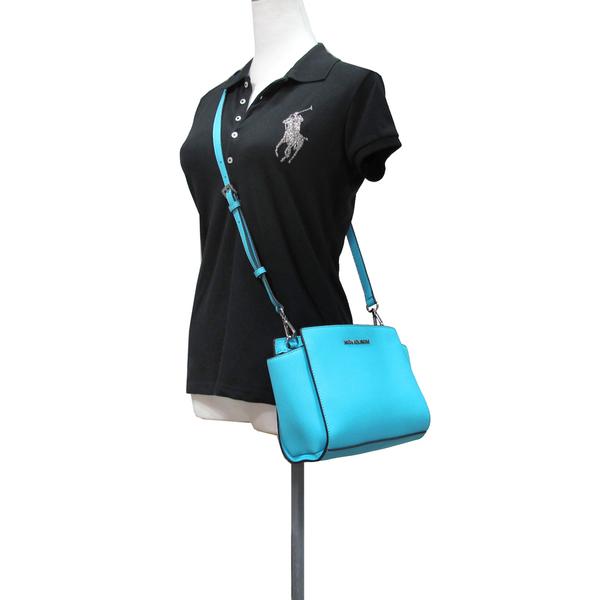 MICHAEL KORS SELMA 銀字防刮皮革 斜背包 (藍色)-30T3SLMM2L