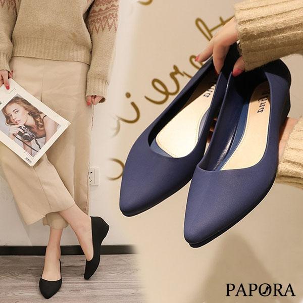 PAPORA氣質休閒防水娃娃包鞋雨鞋KQ1243黑/米/藍/紅