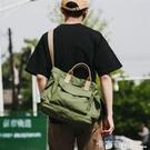 斜背單肩包男帆布包手提包日系大容量慵懶風...