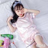 女童睡衣薄款冰絲兒童夏季女寶寶中大童套裝夏短袖兩件套CY1750【宅男時代城】