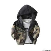 韓版男童外套 薄款迷彩拼色外套 連帽立領外套 88595