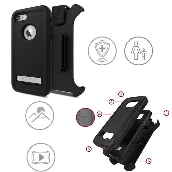SEIDIO CONVERT 金剛級保護殼 iPhone 7 4.7吋 三層式保護殼 軟殼+硬殼 背夾 皮帶扣