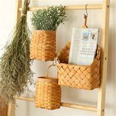 日式純手工編織杉木片收納籃桌面儲物籃可掛式迷你環保籃掛籃壁掛 智聯