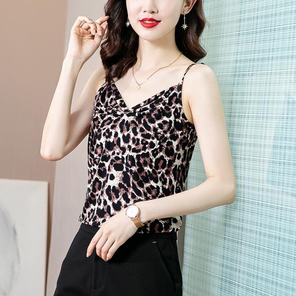 豹紋小吊帶背心女涼感背心M-4XL內搭外穿打底衫無袖性感低胸上衣潮H358-C.8823 1號公館