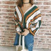襯衫 襯衫女長袖韓版寬鬆學院風V領蝙蝠七分袖chic條紋襯衣外套上衣服 果果輕時尚