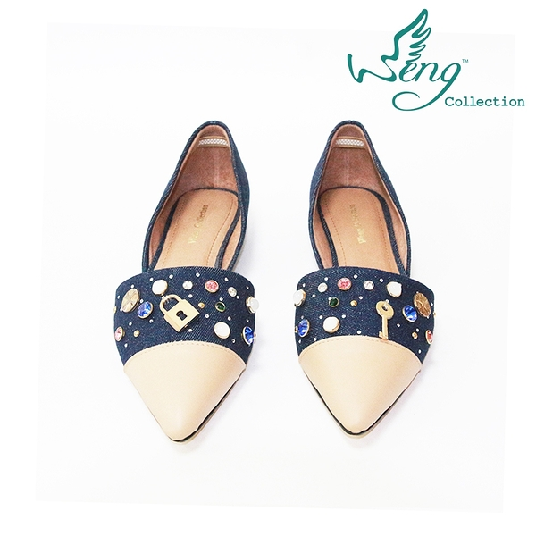 【WENG COLLECTION】Orbit Stone丹寧拼接尖頭平底鞋 深藍(平底鞋)