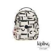 Kipling 幾何水墨塗鴉多袋實用後背包-MICAH