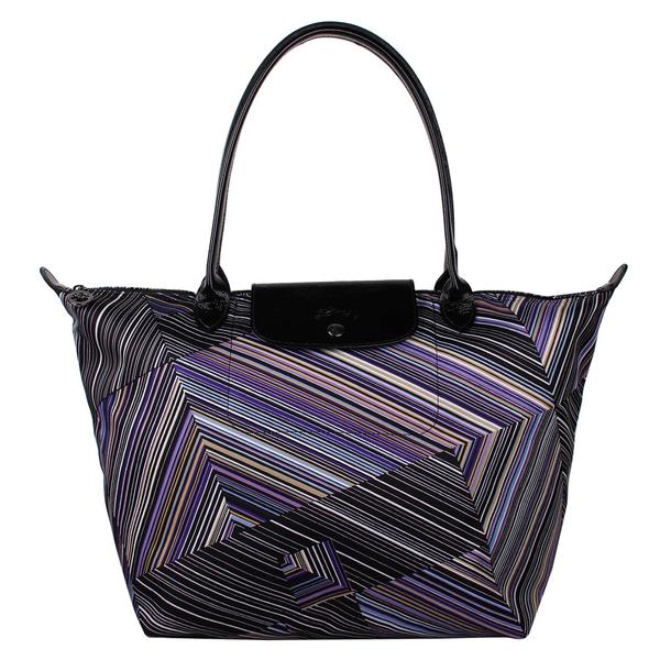 Longchamp OP ART幾何風格錯視條紋長提把手提水餃包-大(紫晶色)480538-958